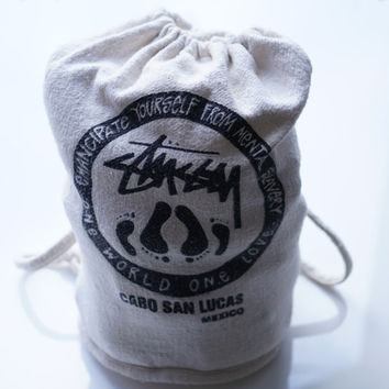 Stussy Backpack, 90s Stussy Bag, Boho Bag, Beach Bag, Streetwear Backpack, Burlap Bag