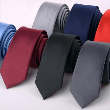 Mens Skinny Ties Solid Color Black Green Orange Red Grey Tie Wedding Necktie Blue Formal Business Skinny Tie Slim 6cm