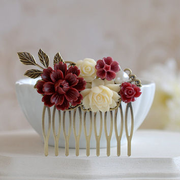 Maroon Burgundy Dark Red Ivory Flowers Hair Comb, Antiqued Brass Leaf Hair Comb, Burgundy Maroon Wedding Hair Accessory, Bridal Hair Comb