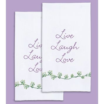 "Live, Laugh, Love Jack Dempsey Satmped Decorative Hand Towel Pair 17""X28"""