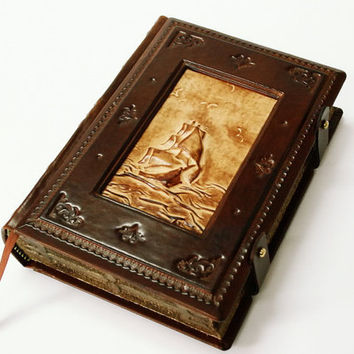Ship of life, vintage look handmade leather journal,  5.5x7.5inch (14x19cm) , in gift box.