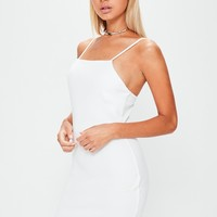 Missguided - White Square Neck Curve Hem Bodycon Dress