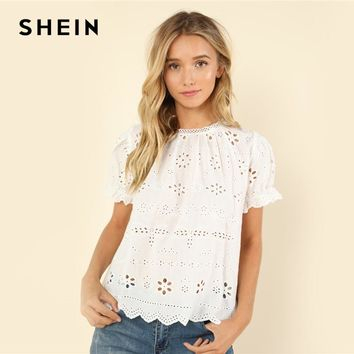 SHEIN White Casual Puff Eyelet Embroidered Stand Collar Contrast Lace Cut Out Solid Blouse