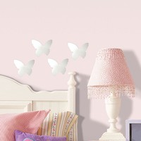 Mirrored Butterfly Wall Stickers (Silver)