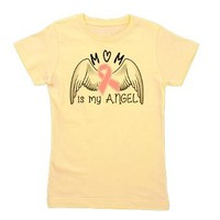 Breast Cancer Awareness Mom Is My Angel Girl's Tee> Mom Is My Angel> Colors of the Rainbow