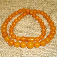 Amazing Rare Baltic Amber Butterscotch Egg Yolk Round Beads Necklace 21 gr.! 94