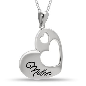 Mother Necklace, 925 Sterling Silver, Silver Plated Heart Pendant for Mother