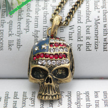 Pretty retro copper skull with Stars and Stripes necklace pendant punk style