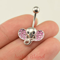 belly button ring,elephant belly ring,navel ring,pink elephant belly button jewelry,elephant belly ring,lucky bellyring