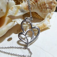 Sterling Silver Double Heart Diamond Pendant .10ctw with 18 inch Sterling Silver Chain 2.58 grams