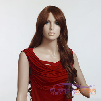 """26"""" Long Curly with Bangs Synthetic Wigs for Women Basic Cap Auburn"""