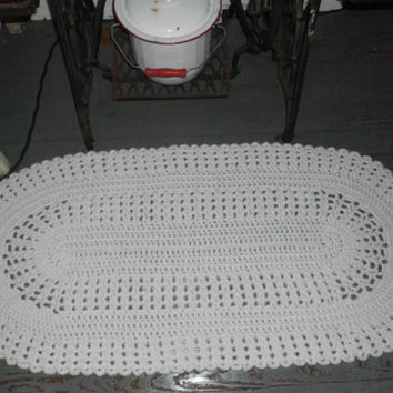Handmade Crocheted Porch Doily Runner, Floor Doily, Crocheted Rug, Large Table Doily, Handmade Rug, White Rug, Lace Rug,