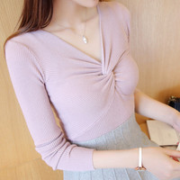 Fashion Solid Color V-Neck Stretch Knit blouse top