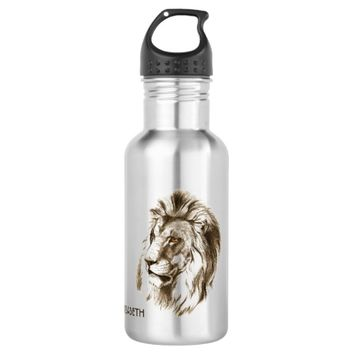 Vintage Lion With Orange Eyes Transparent Drawing Stainless Steel Water Bottle