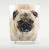 Snow Pug Shower Curtain by Veronica Ventress