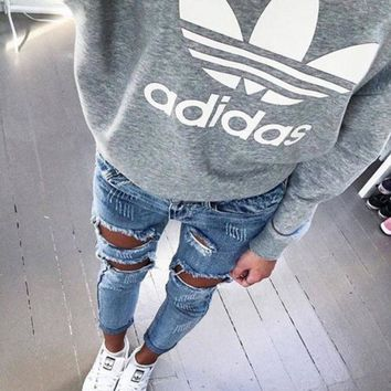 Women Fashion Adidas Hooded Top Sweater Pullover Sweatshirt Hoodie I