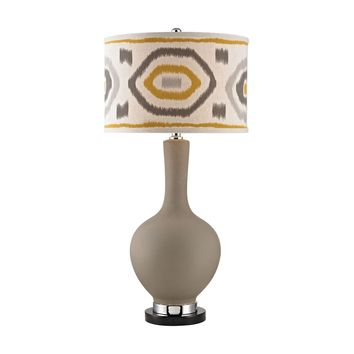 Matte Grey Lamp With Patterned Shade Clay