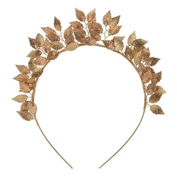 Delicate Leaf Flower Ring Hoop Crown Gold Silver Headband Bride Headdress Flower Headwear Wedding Hairwear Bridal Hair Jewelry