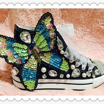 Womens Flower Decor Lace Up Casual Rhinestones Lace Buttefly Sequins Canvas Zipper Canvas Shoes Lolita Girls 5Styles