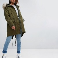 ASOS TALL Oversized Parka with Padded Liner at asos.com