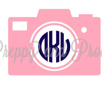 Camera Monogram Sticker, Laptop Monogram, Vinyl Monogram, Car Monogram, Personalized, Water Bottle Decal, Cooler Monogram, DIY