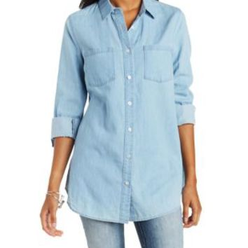 Denim Chambray Tunic with Side Slits