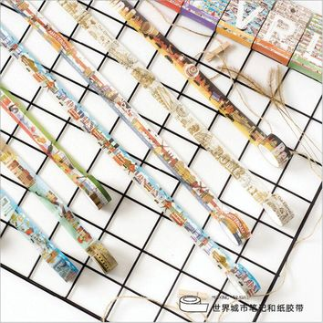 Travelling the World City Notes Buildings Scenic spots Hand-painted Decoration Diary Washi tape DIY Planner Scotch Masking Tape