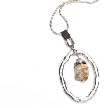 Lilith Extra Long Silver & Leather Necklace