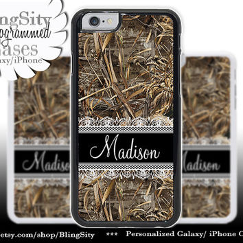 Camo Black Lace Monogram iPhone 5C 6 Plus Case iPhone 5s 4 case Ipod Realtree Custom Name Personalized Country Inspired Girl