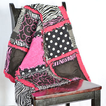 RAG QUILT, Small Baby Blanket. Hot Pink, Black, Zebra, Girl, Ready to Ship