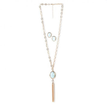 Opal Gold Chain Tassel And Earrings Jewelry Set