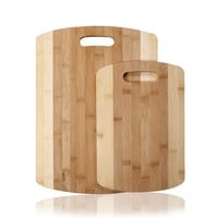 100% Natural Bamboo Striped Cutting Board With Handles