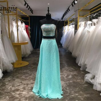 2018 Two Pieces Prom Dresses Boat Neck Sleeveless Off the Shoulder Backless Sweep Train Sexy Long Party Evening Dresses