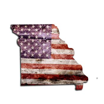 Missouri Distressed Tattered Subdued USA American Flag Vinyl Sticker