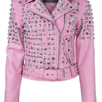 Studded Leather Jacket [PINK]
