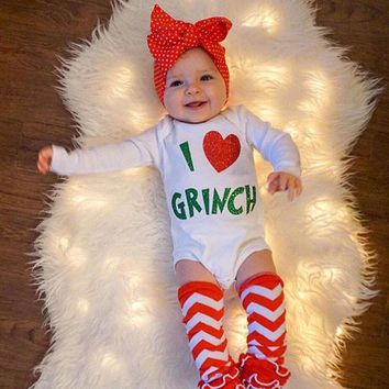 USA Newborn Baby Girls Heart Romper Jumpsuit Bodysuit Clothes Xmas Outfits wea