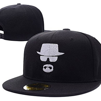 YUDUODUO Breaking Bad Heisenberg Logo Adjustable Snapback Embroidery Hats Caps - Black