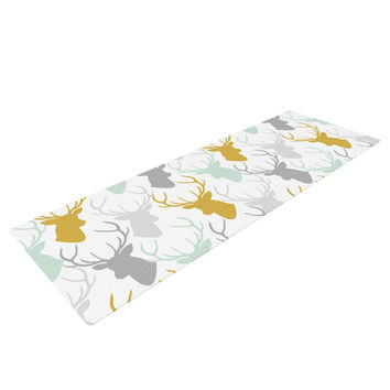 "Pellerina Design ""Scattered Deer White"" Gold Green Yoga Mat"