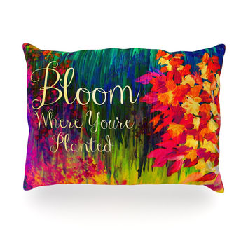 "Ebi Emporium ""Bloom Where You're Planted"" Floral Oblong Pillow"
