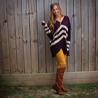 V Cut Plum Sweater