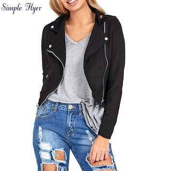 SIF 2016 Womens Sexy Winter Slim Biker Motorcycle Leather Jacket Women Basic Coats Jacket Punk Suede Clothing Coat Outwear