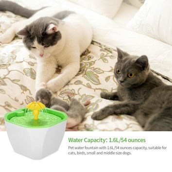 1.6L Automatic Cat Water Fountain Water Bowl Pet Cat Dog Water Fountain Auto Pet Drinker Bowl with Filter Pump for Dog Cat