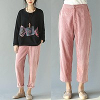 Womens Harem Pants 2017 New Spring and Summer Women Vintage Loose Trousers Female Casual Corduroy Pants Pink/Blue