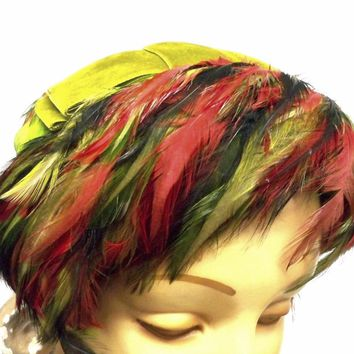 """Vintage Ladies  Feather Hat  w/ """"Bangs"""" 1950s Bright Green & Red Norman Durand"""