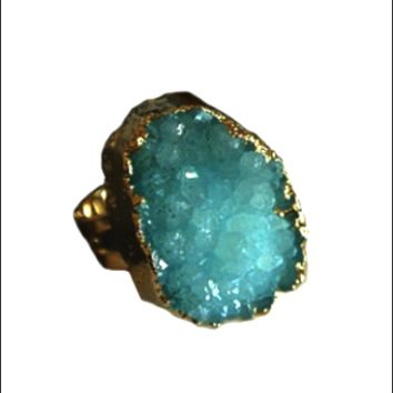 Gold Plated Blue Druzy Quartz Ring