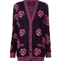 Indie Designs Saint Laurent Inspired Rose-Jacquard Wool-blend Cardigan