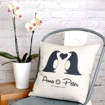 Love Penguins Cushion Cover