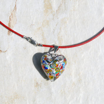 Venetian Glass pendant heart necklace. Red leather necklace. Klimt style glass heart, colorful heart necklace, red silver heart necklace
