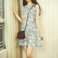 Slim Sleeveless Dress Printed with Small Fresh Lotus Leaf Temperament