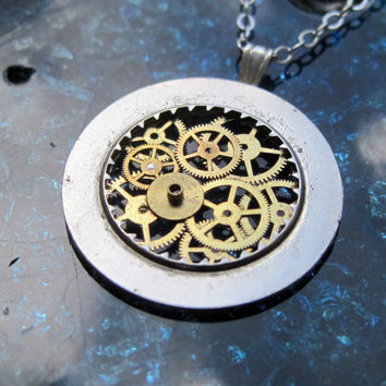 "Clockwork Pendant ""Coreward"" Recycled Mechanical Watch Gears and Intricate Sculpture Wearable Art Not Quite Steampunk Assembly Necklace"